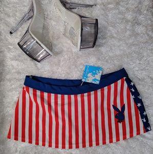 Red white and blue Playboy skirt/ swim sarong🇺🇲